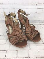 Next Women's Tan Brown Leather Heels Sandals Shoes Size 4