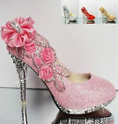 NEW-Glitter Gorgeous Wedding Bridal Evening Party Crystal High Heels Women Shoes
