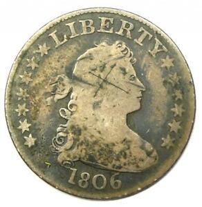 1806 Draped Bust Quarter 25C - VG / Fine Details - Rare Coin!