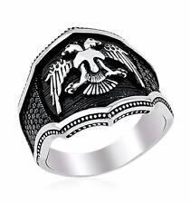Bague Chevalière Argent massif 925 Motif Animal Aigle 2 Têtes 12g Sterling Ring