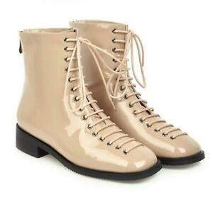 Womens Lace-Up Patent Leather Square toe Combat Ankle Boots Knight Casual Shoes