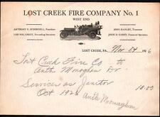 1926 Lost Creek Fire Company #1 - West End - Pennsylvania Vintage Letter Head