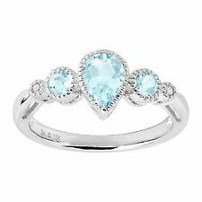 7/8 Ct Natural Aquamarine Ring With Diamonds in 10k White Gold