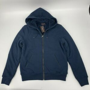 Michael Kors mens full zip Sherpa lined Hoodie  Sz S navy cotton U407 U441