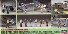 Hasegawa 1/72 X72-8 (35008) WWII Pilot Firgure Set (Japanese German US British)