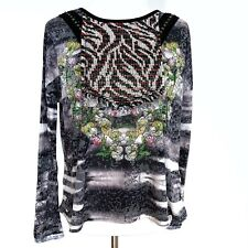 Custo Barcelona Size Small Long Sleeve Top Multi Print Burnout Rhinestones