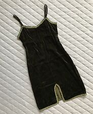 Vintage Betsey Johnson Crushed Velvet Dress Nightie Green Black Leopard M