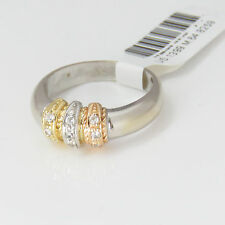 NYJEWEL 18k Solid Gold Delicate Three Tone Band Ring $1399