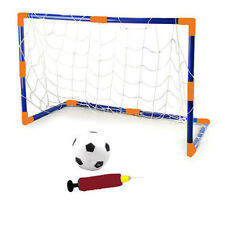 CHILDRENS KIDS SIZE FOOTBALL AND GOAL SET GARDEN GAME INFLATABLE BALL WITH POST