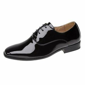 Goor Smart Formal Shoes Black Shiny Lace Heeled Wedding Party Leather Lined