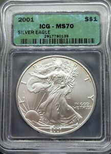 2001 ICG MS70 Certified American Silver Eagle Dollar S$1 - NICE TONING