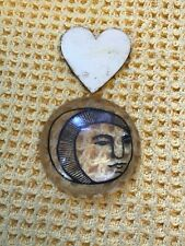 More details for vintage art painted convex glass magnifying lens