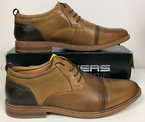 Skechers Bregman Selone Leather Oxford Memory Foam Shoes Tan Mens 14 Classic Fit
