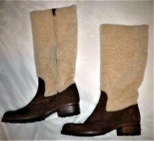 SUPER RARE Vintage UGG Boots Sz 7.5M Fur Shaft Suede Foot Side Zipper Block Heel