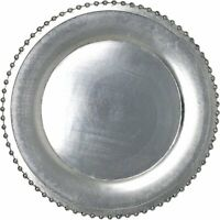 Elegant Weaving Silver Pressed Beaded Rim Design Round Charger Plates...