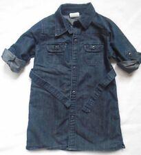 Wrangler Girls Dress Sz 4T Shirtdress Dark Denim Long Roll Tab Sleeves