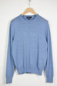BROOKS BROTHERS SAXXON WOOL Men's MEDIUM Blue Melange Pullover Sweater 35390-GS