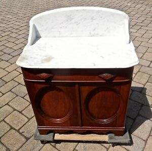 Antique Victorian Marble Top Walnut Cottage Washstand Chest From Estate!