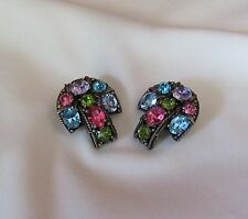STUNNING SPARKLE SIGNED HOLLYCRAFT LARGE RAINBOW OF COLORS RHINESTONE EARRINGS