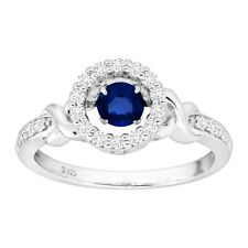 7/8 ct Created Blue & White Sapphire Floater Halo Ring in Sterling Silver