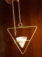 """PARTYLITE : HÄNGE- Pillarkerzen / Teelichthalter """"Triangel"""" vergoldet Glas"""