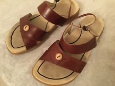 WOMENS DANSKO BROWN LEATHER SANDALS SHOES ANKLE STRAP OPEN TOE 7/7.5 37 EUC
