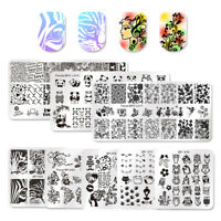 8Pcs Kit Born Pretty Nail Art Stamping Plate 5 Square 3 Rectangle Print Template