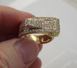 Vintage Fabulous 14K Yellow Gold 1 Carat Diamond Wide Buckle Heart 8.8 Gram Ring