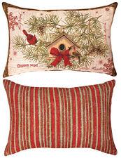 Cardinaux & NICHOIR Large Noël tapisserie oreiller~ artiste, Tim Coffey