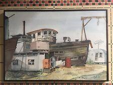 California School Watercolor Boat Dry Dock Industrial Plein Air Trailer Welding