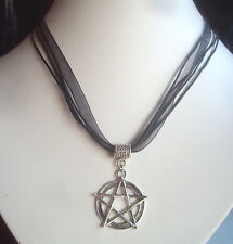 Pentagrama De La Cinta Negra Y Cordón Collar-Bruja Pagano, Goth