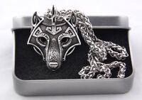 Nordischer Anhänger Wolfskopf+Kette 50cm+Vikings Box Odin Mjolnir  Amulett V2