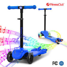 Blue Adjustable Height 3 Wheel Kid Kick Scooter Led Light+Music+Atomizer Outdoor
