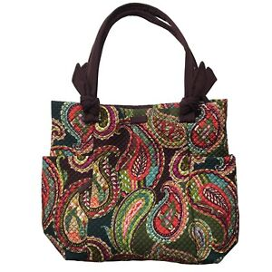 Vera Bradley Hadley Tote Brown Green Quilted Heirloom Paisley