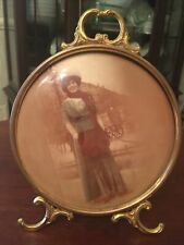 Antique Frame Medallion P. New York- Victorian Colored Tin Photo Lady 7.75�