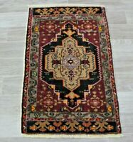 Vintage Turkish Doormat Rug Bohemian Hand Knotted Nomadic Wool Carpet 1.9x2.9 ft