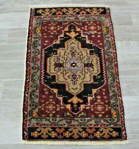 Vintage Turkish Doormat Rug Bohemian Hand Knotted Nomadic Wool Carpet 1.9x2.9 ft