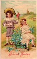 Vintage C. 1908 Cute Dressed Girls Embossed Valentine Day Greeting  Postcard