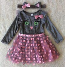 Baby Girls Halloween Pretty Pink & Grey 3 PCE Cat Fancy Dress Up/costume 1-2 Yrs