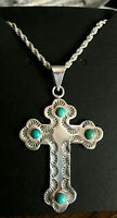 "Vintage Large Taxco  Sterling Silver Cross Pendant 925 24"" Rope  Chain Turquoise"