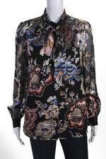 Tory Burch  Womens Floral Print Silk Blouse Black Blue Size 8 LOT 2