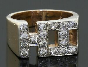 "Heavy 14K gold 1.02CTW diamond ""HI"" men's ring size 8.5"