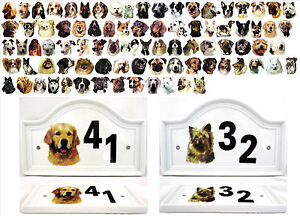 Dog House Ceramic Door Plaque Outdoor Different Breeds (A to L)  Any Number