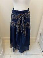 New Womens Size 14-16 Navy Dark Blue Casual Floaty Maxi Long Skirt