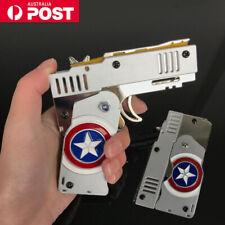 Folding Mini Rubber Band Toy Gun Pocket Alloy Metal Pistol Kids Boys Gift AU