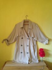 Size 14 beige brown vintage look oversized double breasted buttoned jacket mac