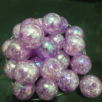 10pcs purple Crackle Glass Round 12mm Beads Jewelry Findings Craft Bead Supply~#