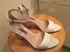 Prada White Patent Leather Metallic Heel Ankle Strap Sandals 38 US 8 $720