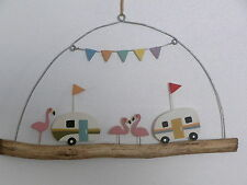 Bunting and Caravan Driftwood Hanging Decoration Seaside Nautical Decor