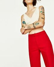 ZARA RED CROPPED STRAIGHT-CUT TROUSERS SIZE XS